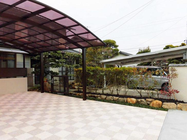ブロック塀で囲まれた閉鎖的な庭を、明るく広々としたカーポートと美しい庭へ