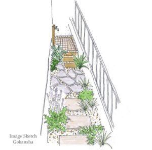 狭い庭、3つのデザインで、目隠しと楽しみを生む