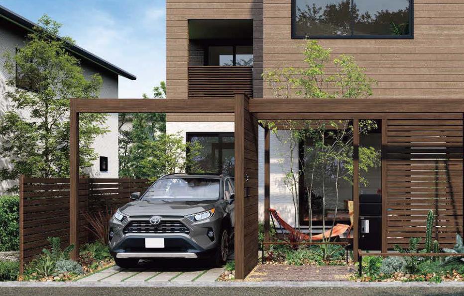 カーポートをおしゃれに見せる3つのポイント!床デザイン、植栽、照明にこだわろう